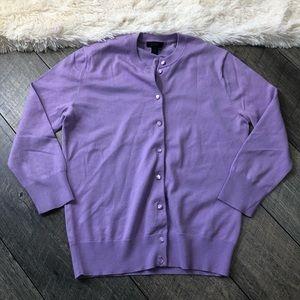 J. Crew Purple Button Front Classic Cardigan